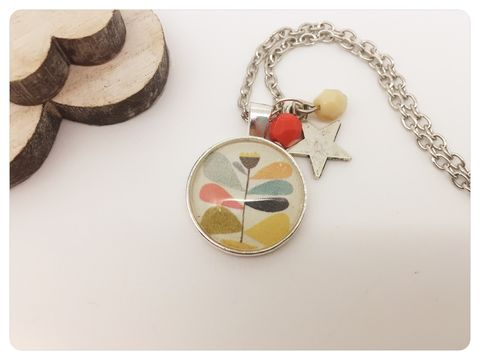 Retro,Flower,Pendant,necklace, pendant, modern, colourful, cabochon, retro, flower