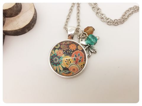 Floral,Pendant,necklace, pendant, modern, colourful, cabochon, floral