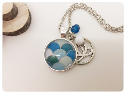 Blue,Hills,Pendant,necklace, pendant, modern, colourful, cabochon