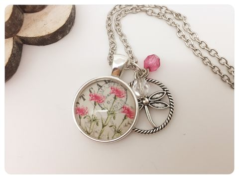 Pink,Flowers,Stamp,Pendant,necklace, pendant, modern, colourful, cabochon, vintage,stamp