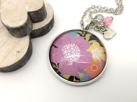 Flowers,Pendant,necklace, pendant, modern, colourful, cabochon, flowers
