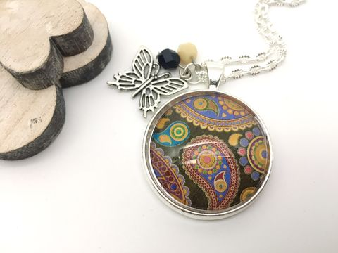Black,Paisley,Pendant,necklace, pendant, modern, colourful, cabochon, black, paisley