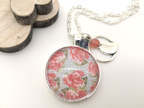 English,Rose,Pendant,necklace, pendant, modern, colourful, cabochon, english, rose