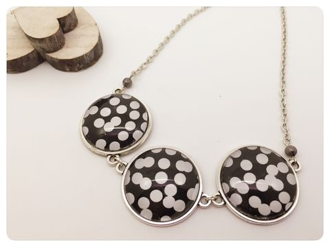 Black,&,White,Cabochon,Statement,Necklace,cabochon, necklace, black, white