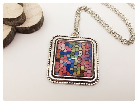 Mosaic,Pendant,necklace, pendant, mosaic, colourful, beads