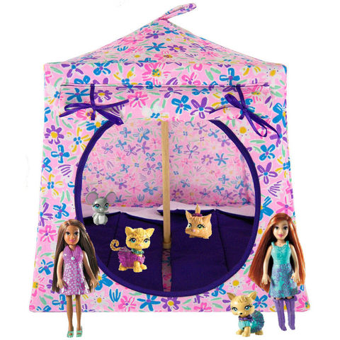 Light,pink,Toy,Play,Pop,Up,Tent,,2,Sleeping,Bags,,multicolored,flower,print,fabric,toy play pop up tent,fabric toy tents,kids play tents,light pink fabric tent,multicolored flower print tent,toy for girl,Polly Pocket doll tent,Barbie Sister dollhouse,tent for My Little Pony, gift for children,purple sleeping bags,handmade toy camping te