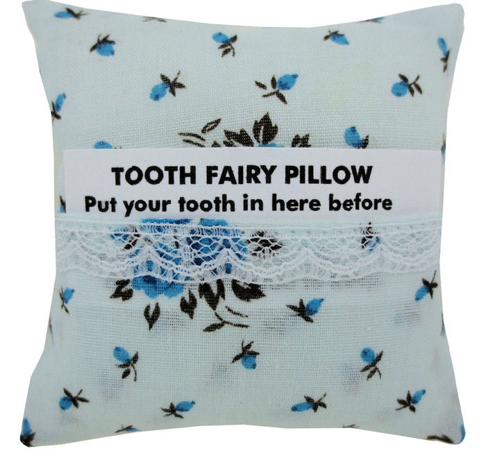Tooth Fairy Pillow Light Blue Rose Print Fabric White