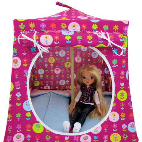 Dark,pink,Toy,Play,Pop,Up,Tent,,2,Sleeping,Bags,,flower,print,fabric,toy play pop up tent,fabric toy tents,kids play tents,dark pink tent,flower print tent,toy for children,Moxie Girlz tent,playhouses,girls gift,doll camping toy,light blue sleeping bags,handmade doll tent,toytentsandchairs