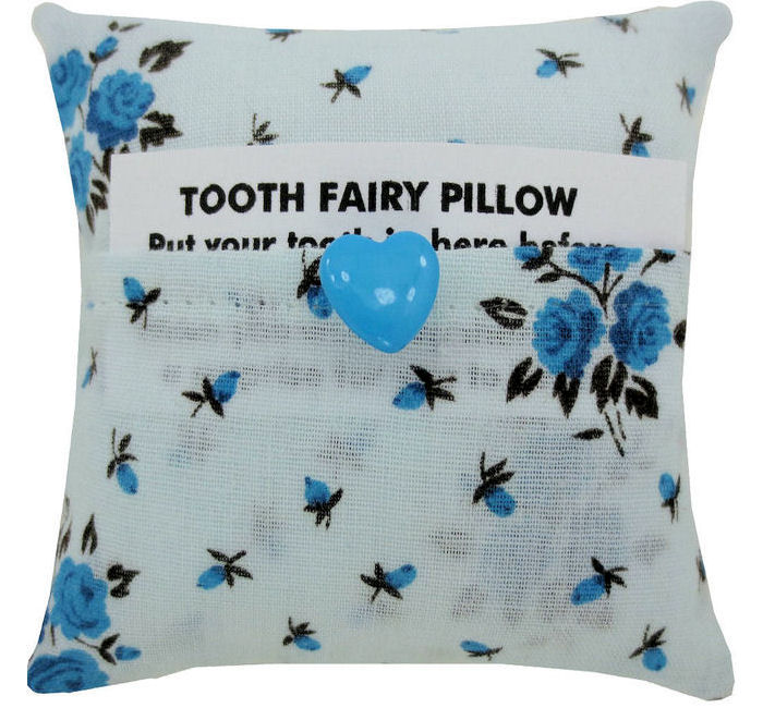 Light Blue Tooth Fairy Pillow Rose Print Fabric Blue
