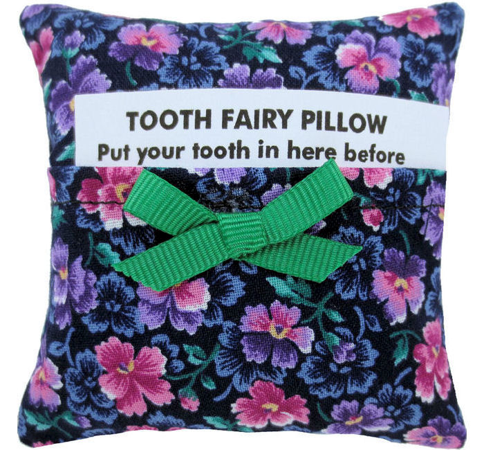 Tooth Fairy Pillow Black Floral Print Fabric Green Ribbon Bow