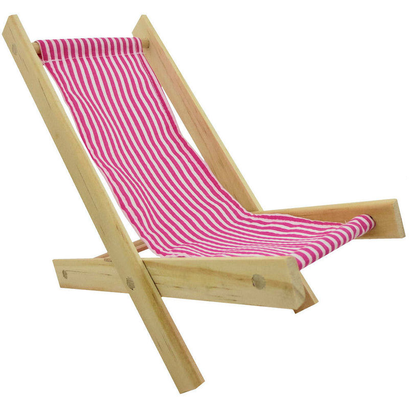 Toy Wood Lawn Folding Chair Pink White Stripe Fabric