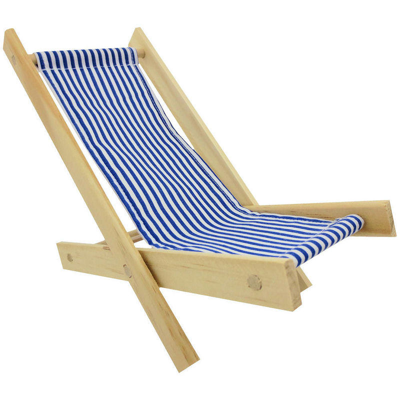 Toy Wood Lounge Folding Chair blue & white stripe fabric Toy Tents And