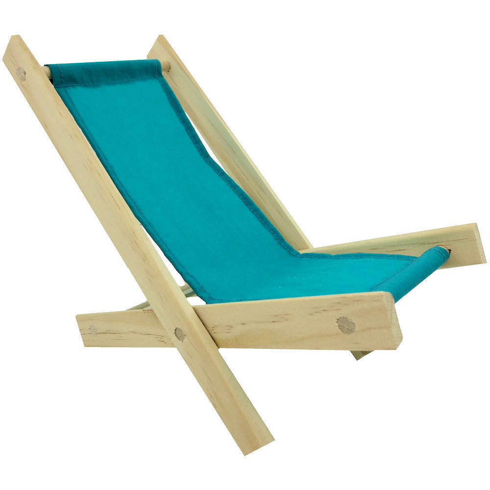 Wooden beach lounge chair - Toy Wood Lounge Folding Chair Teal Fabric