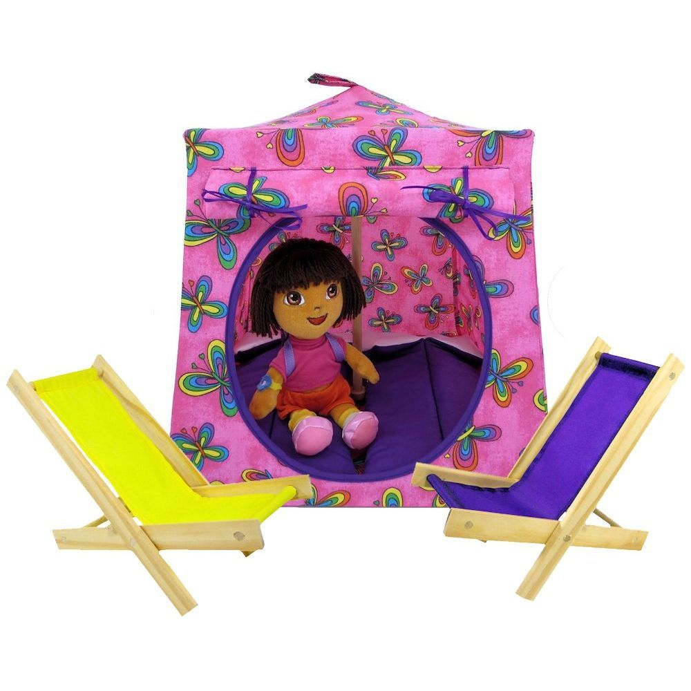 Pink Toy Play Pop Up Tent, 2 Sleeping Bags, Butterfly Print Fabric   Toy  Tents And Chairs