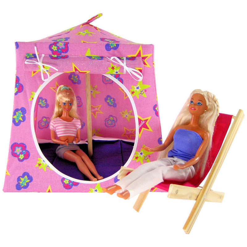 Pink Toy Play Pop Up Tent 2 Sleeping Bags sparkling Barbie print fabric -  sc 1 st  Toy Tents And Chairs & Pink Toy Play Pop Up Tent 2 Sleeping Bags sparkling Barbie print ...