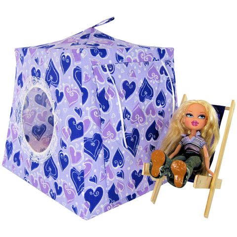 Purple,Toy,Play,Pop,Up,Tent,,2,Sleeping,Bags,,heart,print,fabric,toy play pop up tent,toy pop up tent,fabric toy tents,kids play tents,purple fabric tent,heart print tent,toys for girls,tent for Bratz dolls,doll tent,dollhouse,camping for dolls,sleeping bags,handmade toy tent,toytentsandchairs