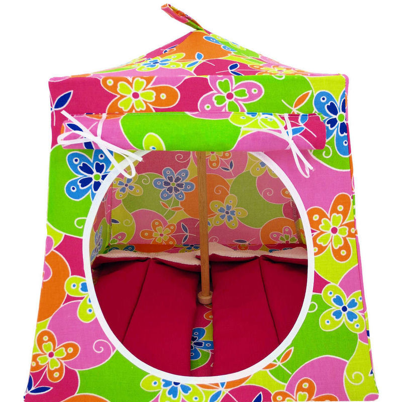Multicolor Toy Play Pop Up Tent 2 Sleeping Bags flower print fabric - product  sc 1 st  Toy Tents And Chairs & Multicolor Toy Play Pop Up Tent 2 Sleeping Bags flower print fabric