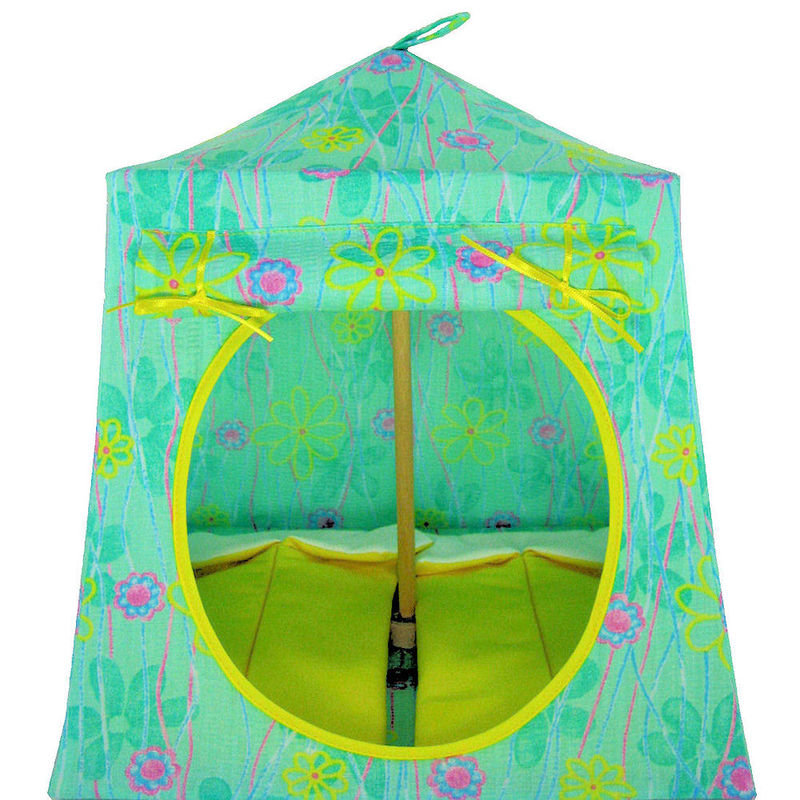 Light green Toy Play Pop Up Tent 2 Sleeping Bags flower print fabric -  sc 1 st  Toy Tents And Chairs & Light green Toy Play Pop Up Tent 2 Sleeping Bags flower print ...