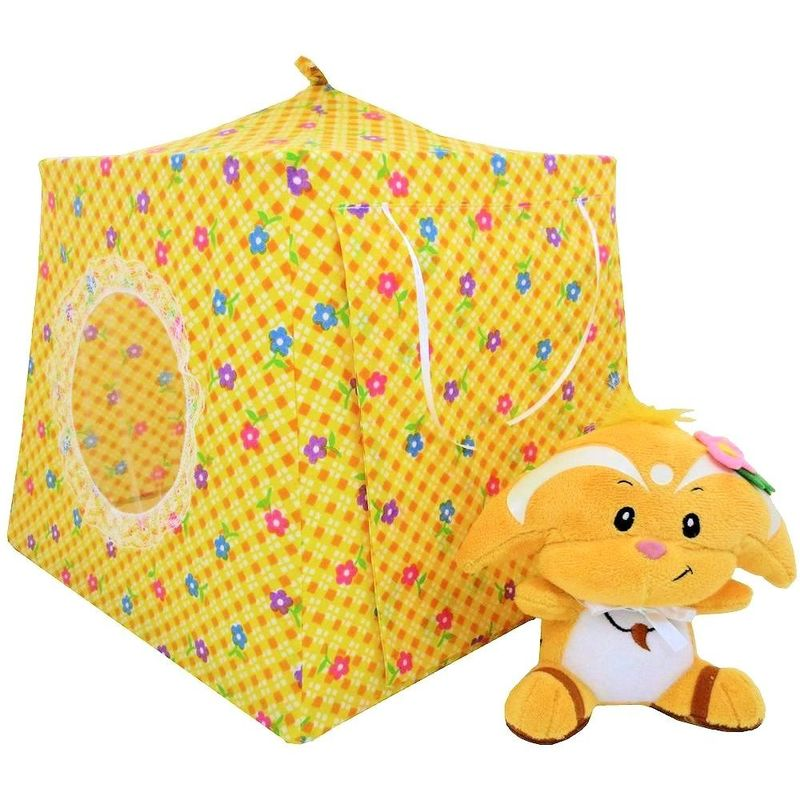 Yellow Toy Play Pop Up Tent 2 Sleeping Bags check u0026 flower print fabric - Toy Tents And Chairs  sc 1 st  Toy Tents And Chairs & Yellow Toy Play Pop Up Tent 2 Sleeping Bags check u0026 flower print fabric