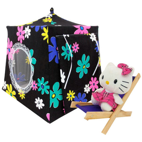 Black,Toy,Play,Pop,Up,Tent,,2,Sleeping,Bags,,flower,print,fabric,toy play pop up tent,fabric toy tents,kids play tents,black fabric tent,flower print tent,girls toy,Hello Kitty tent,Moxie Girlz house,doll tent,gift for child,sleeping bags,handmade toy tent,toytentsandchairs