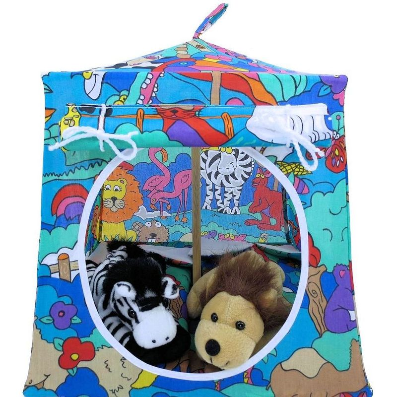 Multicolor Toy Play Pop Up Tent 2 Sleeping Bags Animal Print Fabric