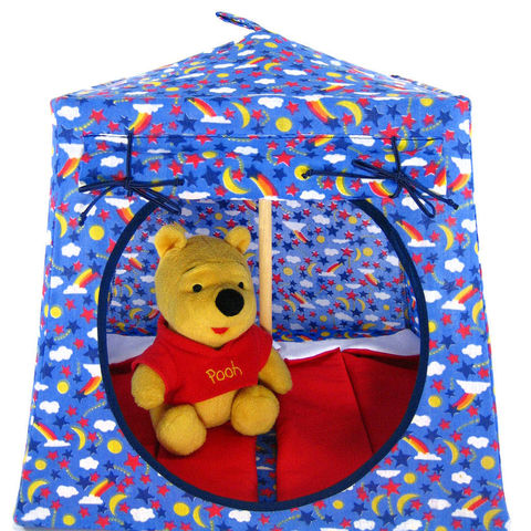 Blue,Toy,Play,Pop,Up,Tent,,2,Sleeping,Bags,,star,&,rainbow,print,fabric,toy play pop up tent,toy pop up tent,fabric toy tents,kids play tents,blue fabric tent, star and rainbow print tent,childrens toy,Winnie the Pooh,star print tent,stuffed animal house,action figure tent,red sleeping bags,handmade toy tent,toytentsandchairs