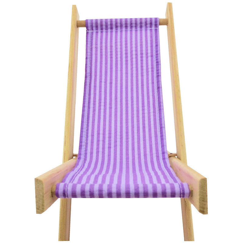 Toy Wood Doll Folding Chair purple & white stripe fabric Toy Tents And