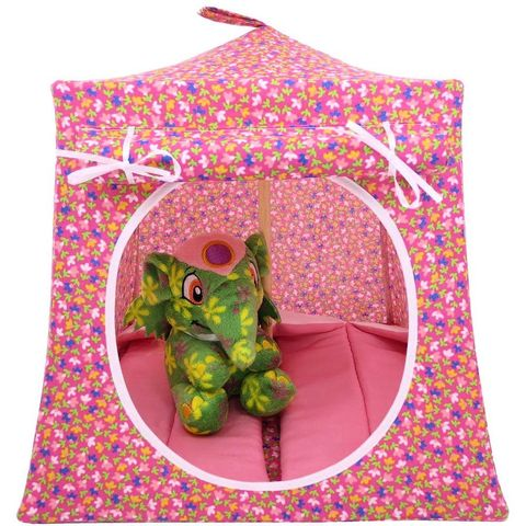 Pink,Toy,Play,Pop,Up,Tent,,2,Sleeping,Bags,,small,flower,print,fabric,toy play pop up tent,fabric toy tents,kids play tents,pink fabric tent,small flower print tent,toy for girls,house for Barbie,doll tent,dollhouse,doll camping,pink sleeping bags,handmade toy play tent,toytentsandchairs