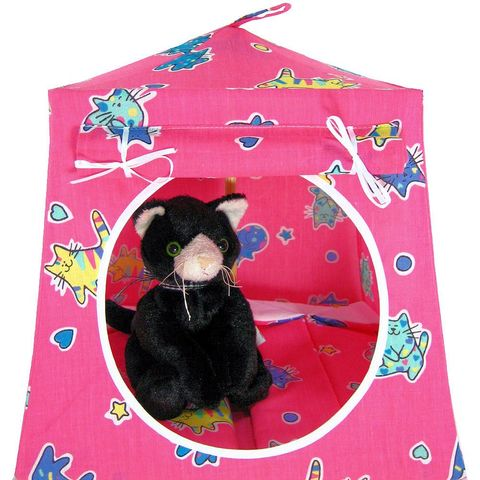 Pink,Toy,Play,Pop,Up,Tent,,2,Sleeping,Bags,,cat,print,fabric,toy play pop up tent,fabric toy tents,kids play tents,pink fabric tent,cat print tent,girls toy tent,stuffed animal tent,dollhouse,doll camp,gift for children,sleeping bags,handmade doll tent,toytentsandchairs