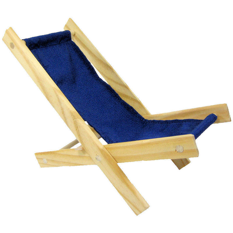 Toy Wood Lounge Folding Chair navy blue fabric Toy