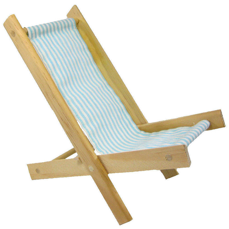 Toy Wood Doll Folding Chair aqua and white stripe fabric Toy Tents And Chairs