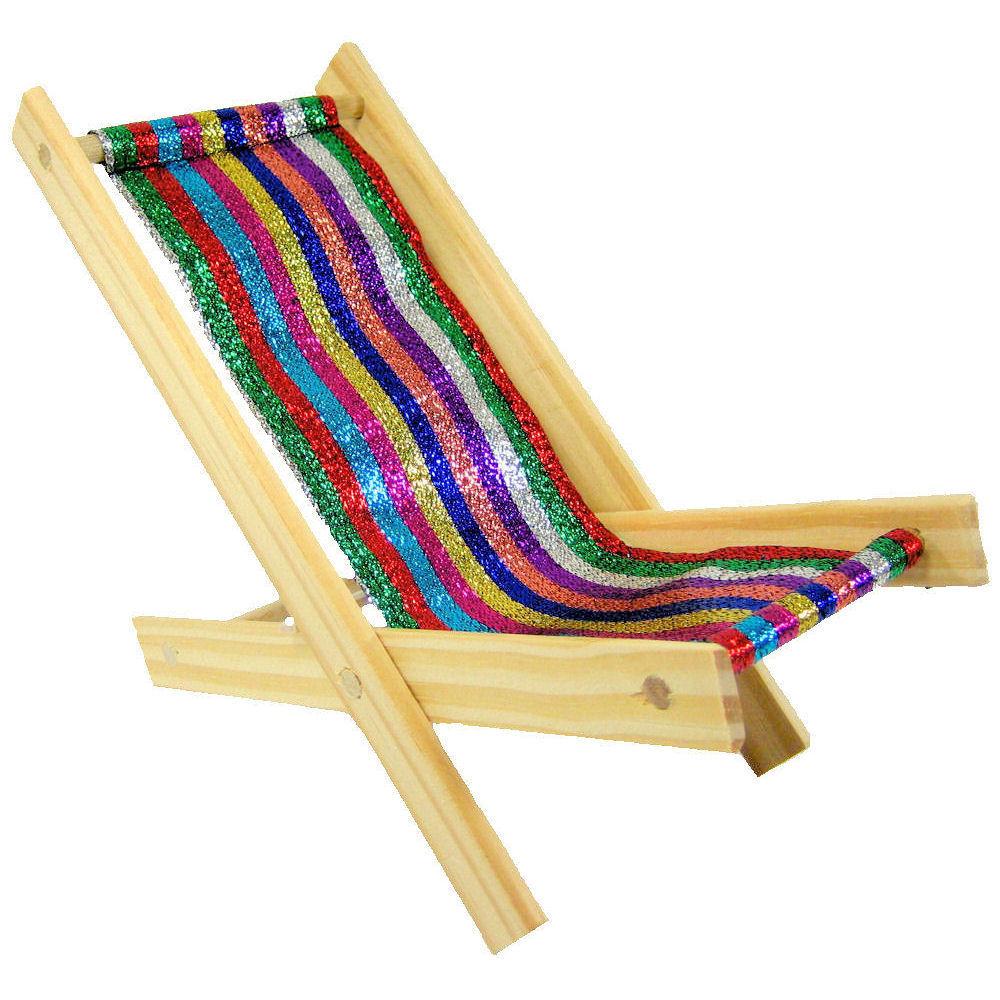 Kids beach lounge chair - Toy Wood Beach Folding Chair Glitter Multicolor Stripe