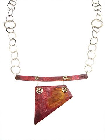 Earth,necklace,#2,handmade, hand-forged, necklace, recycled, recycled silver, silver chain, pendants, one-off, contemporary jewellery, contemporary jewelry, red, pink, transformation, become, unique, Lieta, Marziali, patina, texture, Ecosilver, copper