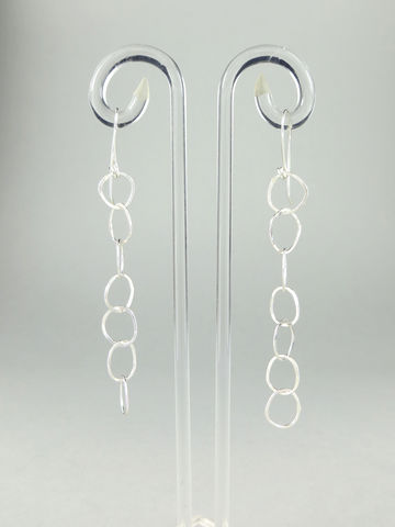 Hand-forged,chain,earrings,#6,Lieta, Marziali, contemporary, jewellery, ecosilver, recycled, chain, hammered, forged, textured, silver