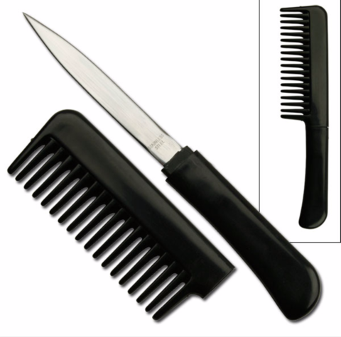 Black,Hair,Comb,Knife,Combo,CIA Style, Hidden Knife, Stealth Knife, Secret Knife, Fantasy Knives, personal security, Self Defense