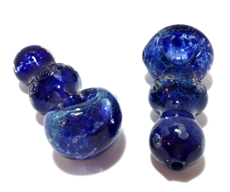 "4"" Blue Heavy Glass ""Outer Space"" Spoon Hand Pipe  - product images  of"