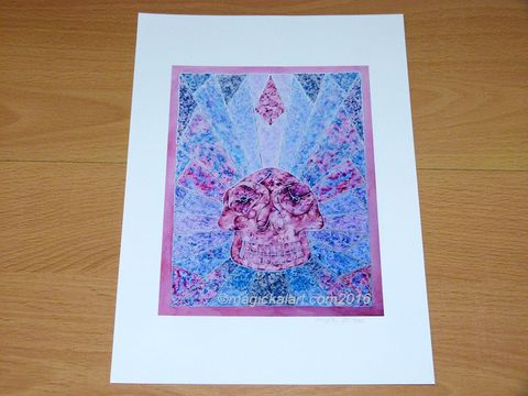 Crystal,Skull,Limited,Edition,Print,-,Rose,Quartz,crystal skull art,crystal skull print,rose quartz skull