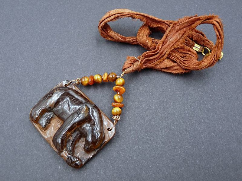 Tiger Eye carved Bear necklace - product image