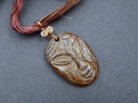 Bronzite,Spirit,Guide,Amulet,bronzite,carved face,bronzite face,bronzite necklace,bronzite pendant,silk necklace