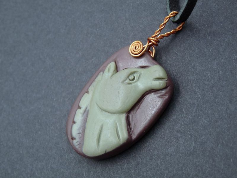 Carved Jasper Horse Head necklace - product image