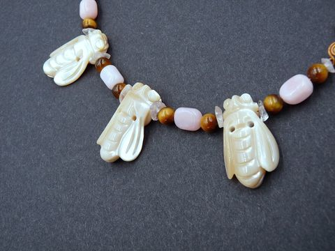 The,Bee,Keeper,necklace,bee,rose quartz,pink opal,bee necklace,bee keeper,tiger eye,bronze,shell bee,carved bee