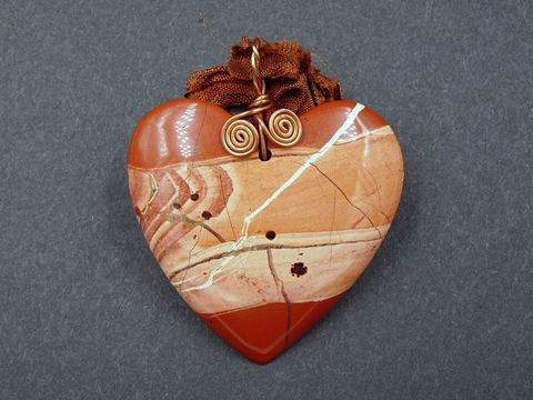 Red,Jasper,Heart,Necklace,heart necklace,red jasper heart,red jasper,heart pendant,carved heart,silk necklace