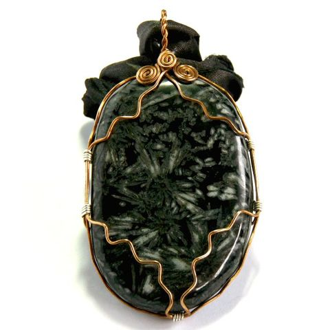 Chrysanthemum,Stone,wire,wrapped,pendant,on,black,Silk,ribbon,chrysanthemum stone,bronze,wire wrapped,wire wrapped jewellery,wire wrapped jewelry