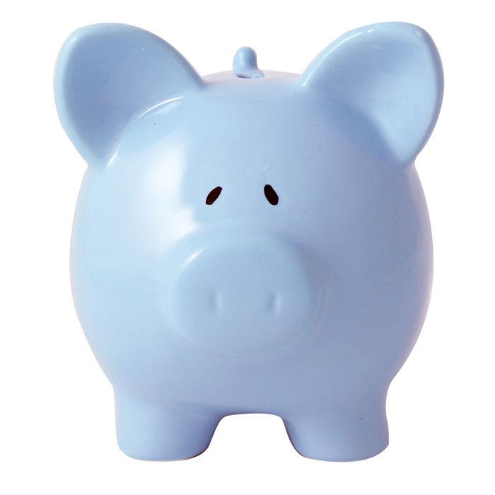 Personalised blue ceramic piggy money box unique gifts decor - Ceramic piggy banks for boys ...