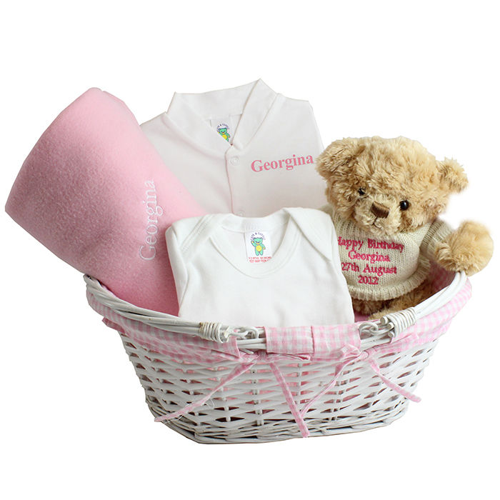 Baby Gifts Unique Uk : Pink baby gift basket hamper unique gifts decor