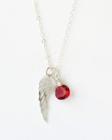 Silver,Angel,Wing,Miscarriage,Memorial,Necklace,with,July,Birthstone,miscarriage necklace forget-me-not, miscarriage memorial jewelry, miscarriage necklace with birthstone