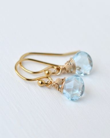 Small,Sky,Blue,Topaz,Briolette,Earrings,in,Gold,Fill,sky blue topaz briolette earrings