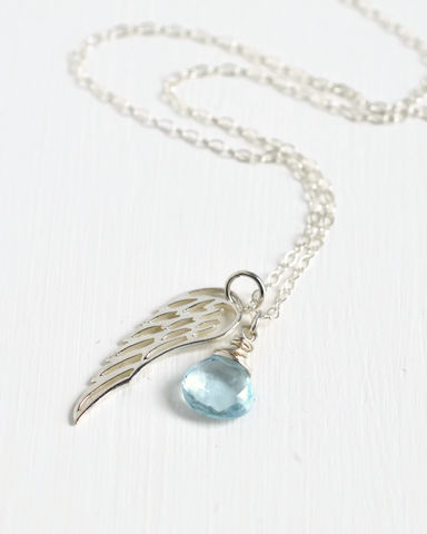Silver,Angel,Wing,Miscarriage,Memorial,Necklace,with,December,Birthstone,miscarriage necklace forget-me-not, miscarriage memorial jewelry, miscarriage necklace with birthstone