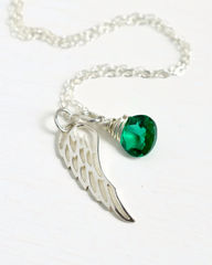 Silver Angel Wing Miscarriage Memorial Necklace with May Birthstone - product images 1 of 6
