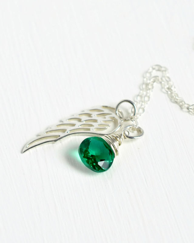 Silver Angel Wing Miscarriage Memorial Necklace with May Birthstone - product image